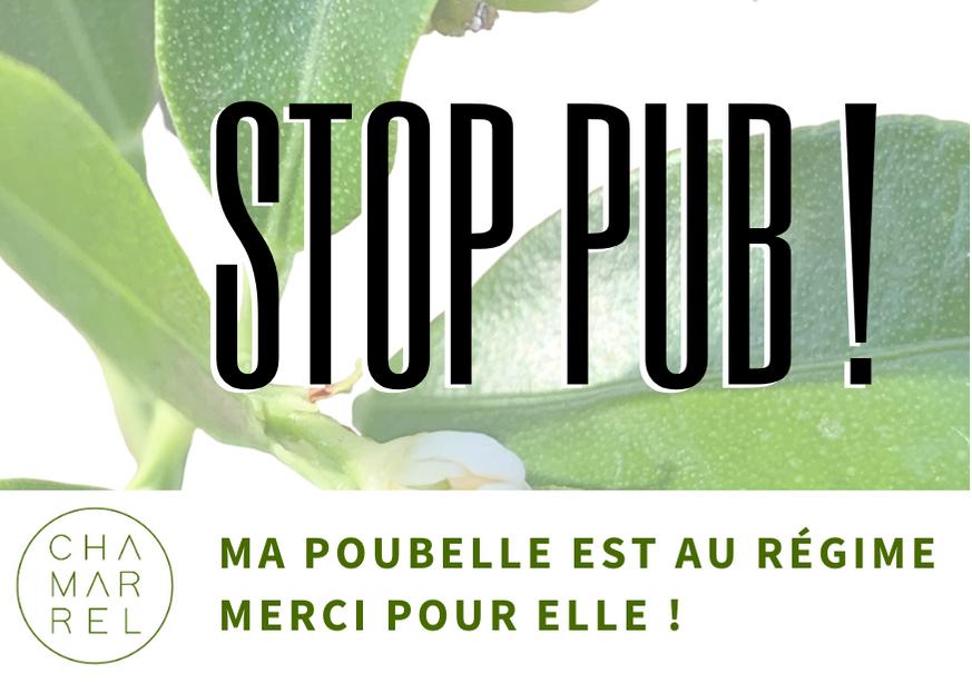 Autocollant STOP PUB, Chamarrel. un pas vers la réduction des déchets domestiques